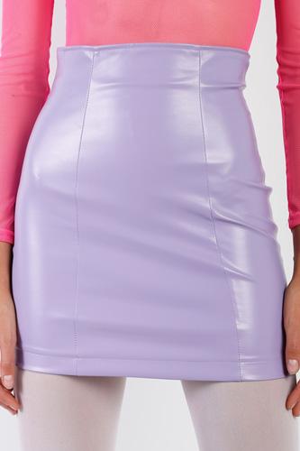 Lavender Faux Leather High Waist Mini Skirt