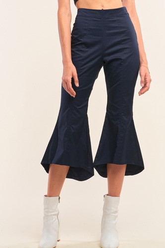 Navy Solid High Waisted Retro Bell Bottom Flare Pants