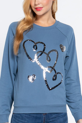 Sequins French Terry Pullover Top