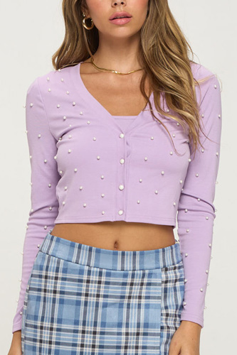 Faux Pearl Crop Top And Cardigan Set