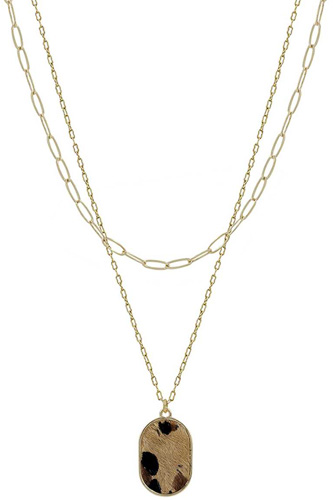 2 Layered Metal Chain Oval Leopard Pendant Necklace