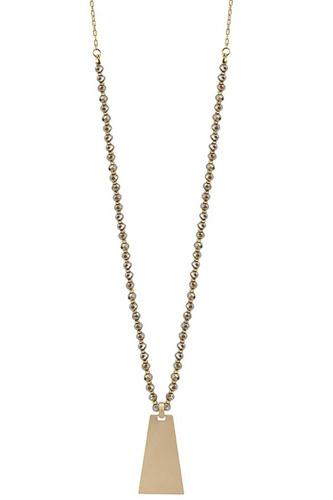 Bead Metal Rectangle Pendant Long Necklace