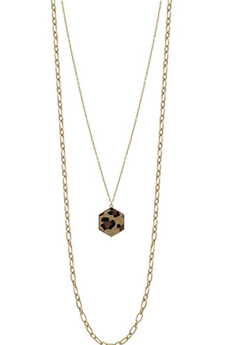 Metal 2 Layered Chain Hexagon Leopard Pendant Long Necklace