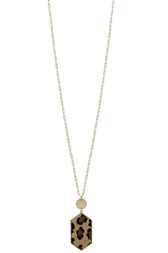 Metal Chain Hexagon Leopard Pendant Long Necklace