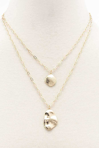 2 Layered Metal Chain Pendant Necklace