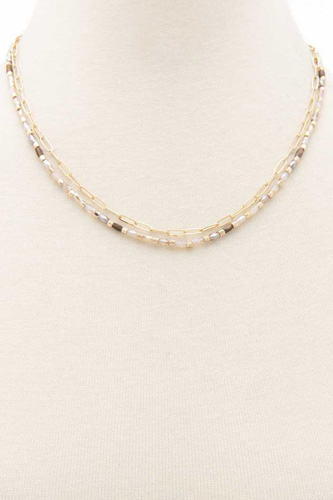 Oval Link Beaded Layered Necklace