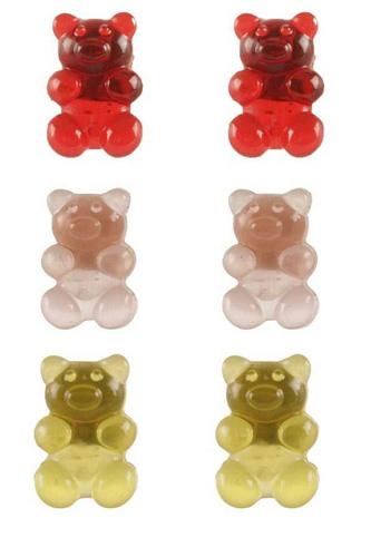 Gummy Bear Stud Earring 3 Pair Set