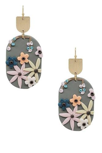Metal Oval Clay Flower Dangle Earring