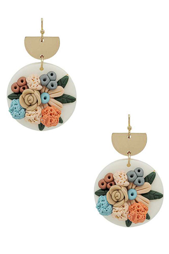 Metal Round Clay Flower Dangle Earring
