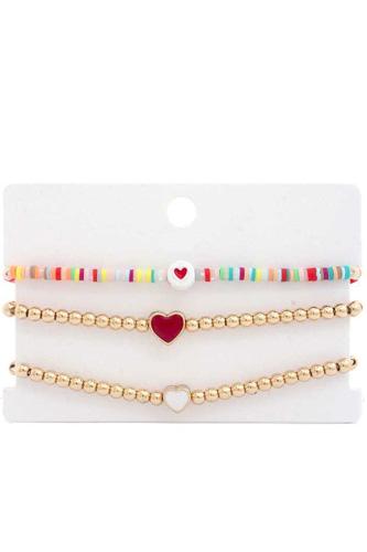 Heart Bead Rubber Disc Bracelet Set