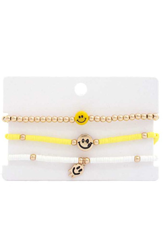 Happy Face Rubber Disk Bead Bracelet Set