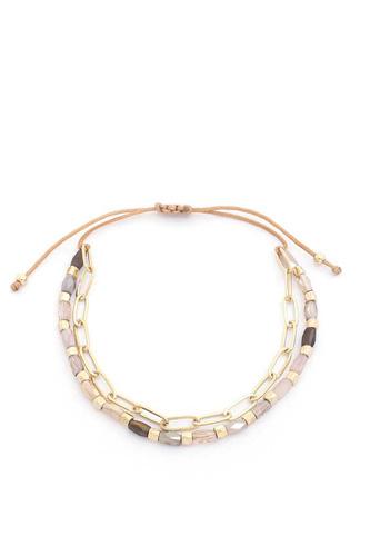 Beaded Oval Link Adjustable Bracelet