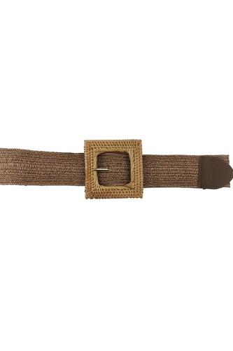 Fashion Square Straw Buckle Belt