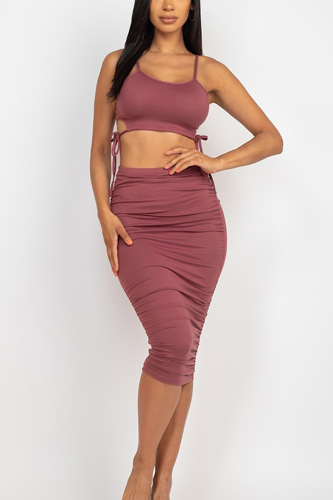 Cut-out Tie Side Crop Top & Ruched Midi Skirt Set