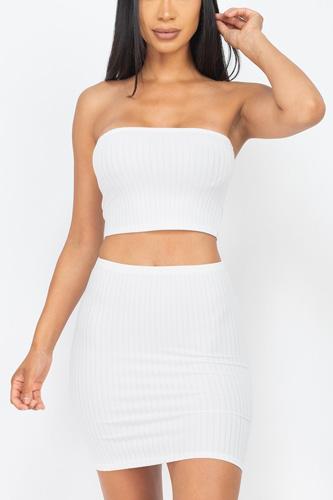 Ribbed Tube Top And Mini Skirt Sets