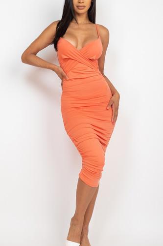 Cross Wrap Ruched Midi Dress