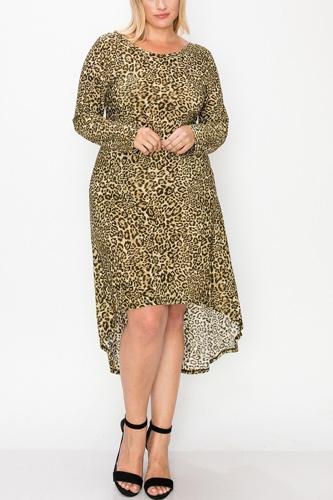 Cheetah Print Dress Featuring A Round Neck