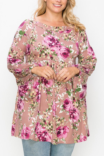 Floral, Bubble Sleeve Tunic Top