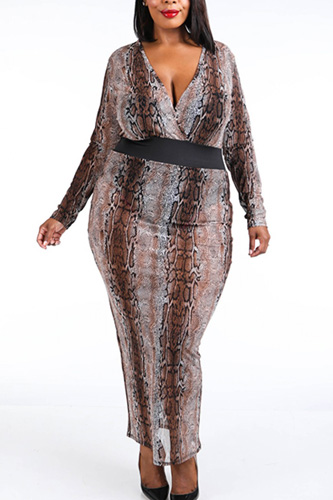 Snake Printed Mesh Maxi Dress
