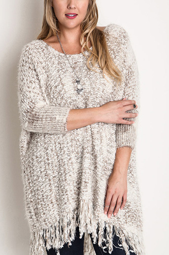 Chunky Knit Sweater Frayed Trim