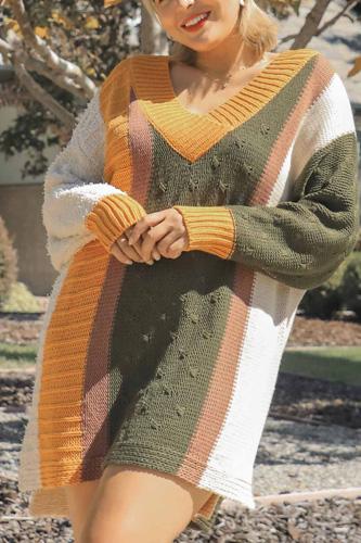 Oversized Multicolor Bouclé V-neck Pullover Sweater Dress With Side Slit