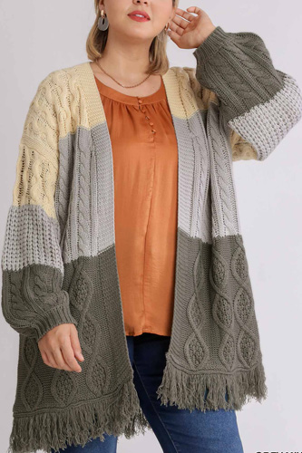 Patchwork Knitted Open Front Cardigan Sweater With Frayed Hem