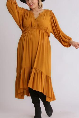 Split Neck Button Front Dolman Sleeve High Low Dress