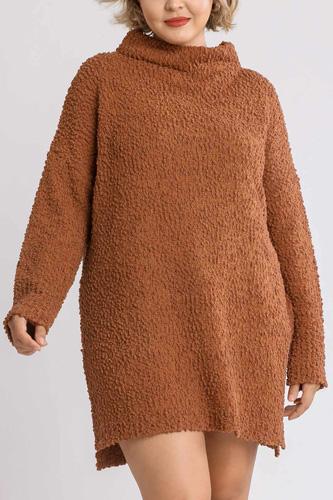 High Cowl Neck Bouclé Long Sleeve Sweater Dress