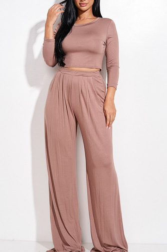 Solid 3/4 Sleeve Top And Wide Leg Pleated Pants Two Piece Set