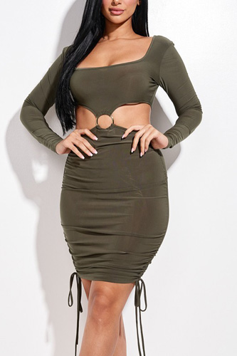Solid Long Sleeve Ruched Short Dress With O Ring
