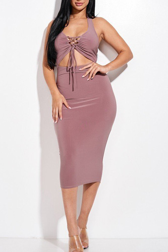 Solid Halter Neck Midi Dress With Criss Cross Front And Cutout