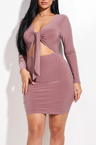 Solid Tie Front Long Sleeve Mini Dress