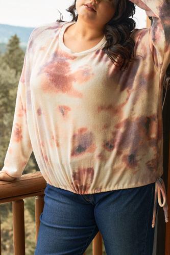 Plus Cream Rust Bleached Tie-dye Long Sleeve Drawstring Detail Relaxed Sweatshirt