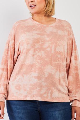 Plus Marsala Tie-dye Print Crew Neck Long Sleeve Loose Fit Sweatshirt