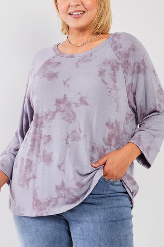 Plus Lavender Tie-dye Acid Wash Print Round Neck Long Sleeve Drop Shoulder Relaxed Sweatshirt Top