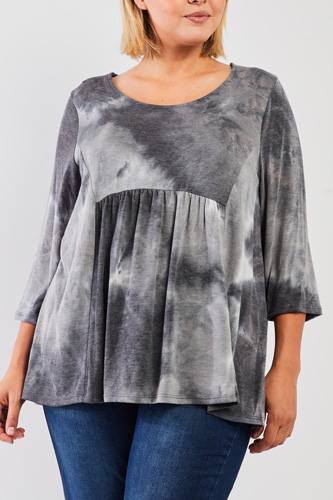 Plus Grey Multicolor Tie-dye Midi Sleeve Relaxed Flare Top