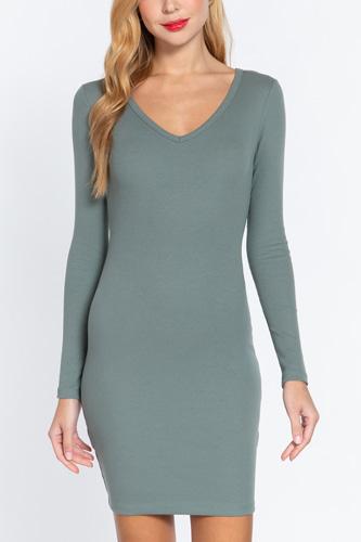 Long Slv V-neck Mini Rib Dress