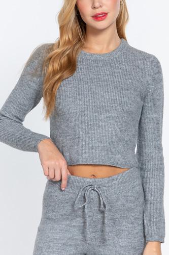 Long Slv Crew Neck Sweater Top