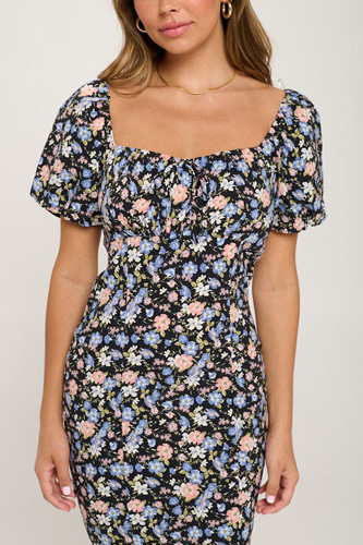Floral Puff Sleeve Bodycon Dress