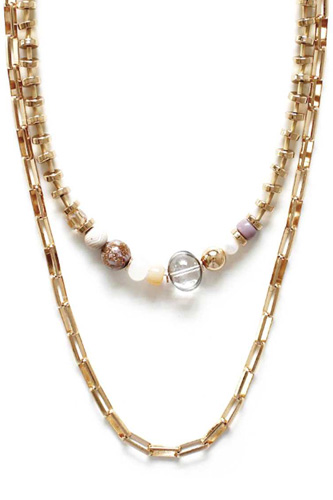 Metal Chain 2 Layered Multi Bead Necklace