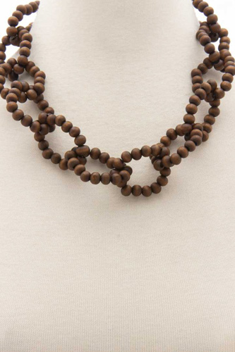 Color Wood Bead O Link Necklace
