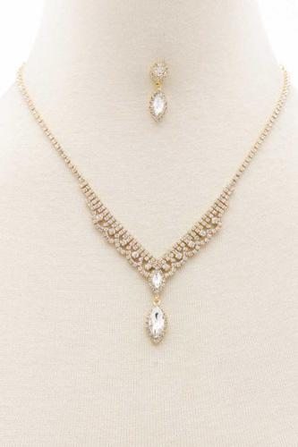Marquise Shape Rhinestone Necklace
