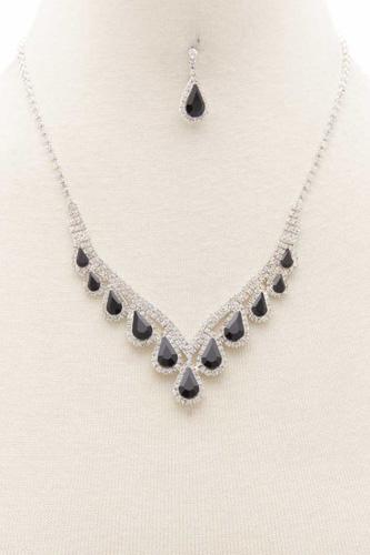 Teardrop Rhinestone V Shape Necklace