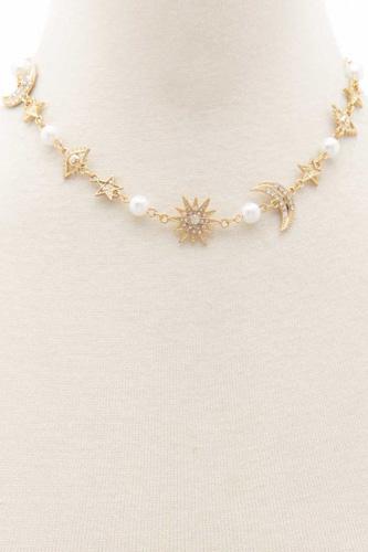 Sodajo Evil Eye Star Moon Charm Necklace