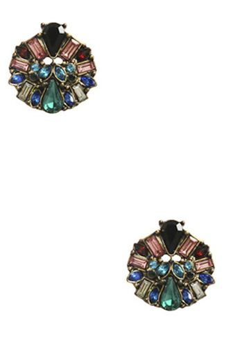 Color Stone Stud Earring