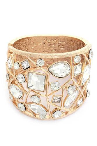Crystal Shape Metal Cuff Bracelet