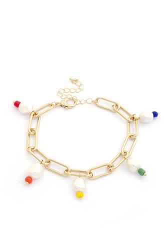 Sodajo Pearl Colorful Bead Oval Link Bracelet