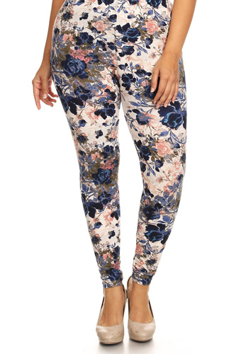 Plus Size Floral Printed High Waisted Knit Leggings In Skinny Fit With Elastic Waistband