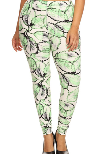 Plus Size Leaf Print, Full Length Leggings In A Slim Fitting Style With A Banded High Waist