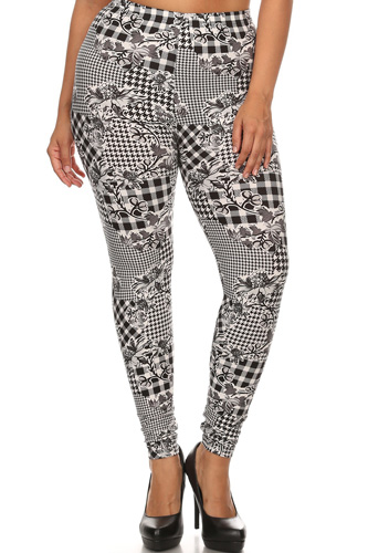 Floral With Hounds Tooth Printed Knit Legging With Elastic Waistband, And High Waist Fit